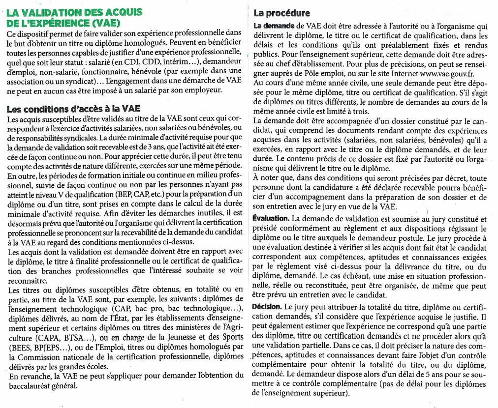 VAE - VALIDATION DES ACQUIS DE L'EXPERIENCE