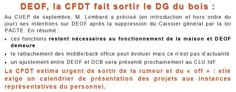 DEOF, la CFDT fait sortir le DG du bois: